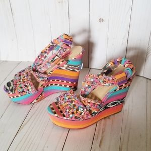 👽Betsey Johnson Colorful Crazy Patterned Wedges